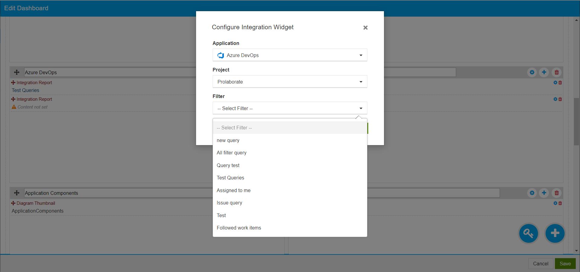 Azure Integration Widget
