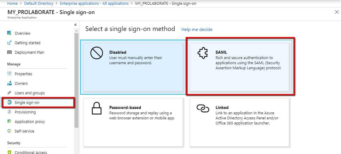 Single sign-on -SAML