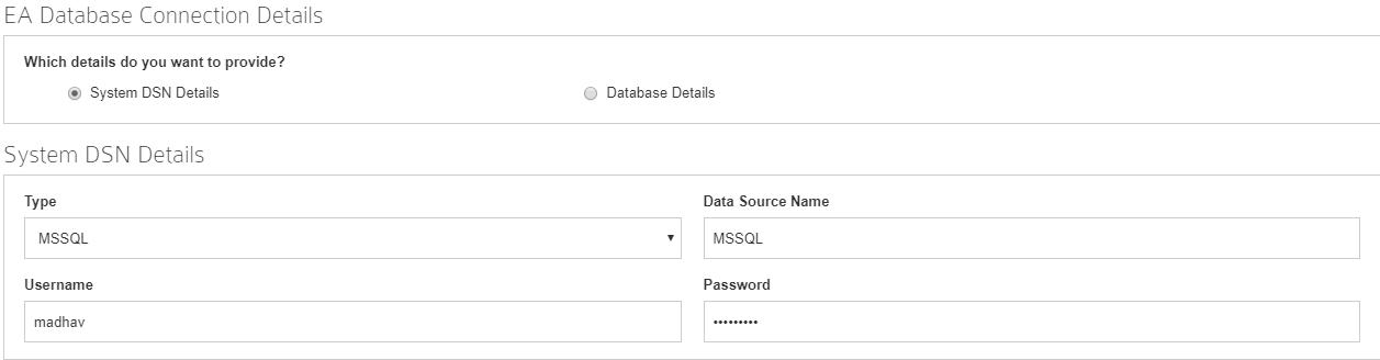 System DSN details