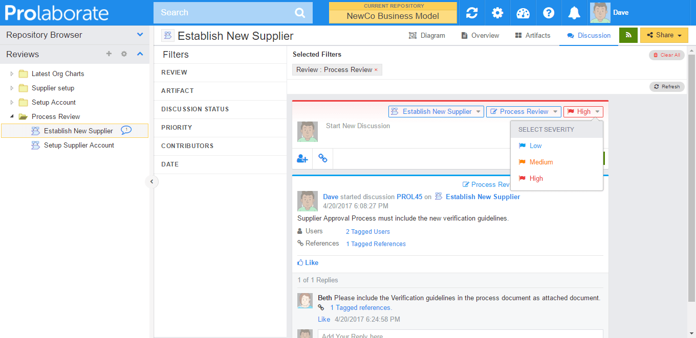 Set priority of Review Comments