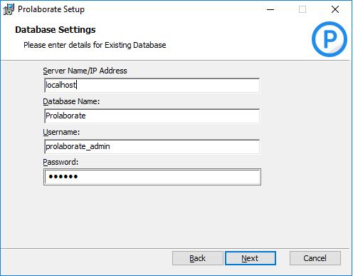Prolaborate Database Setting