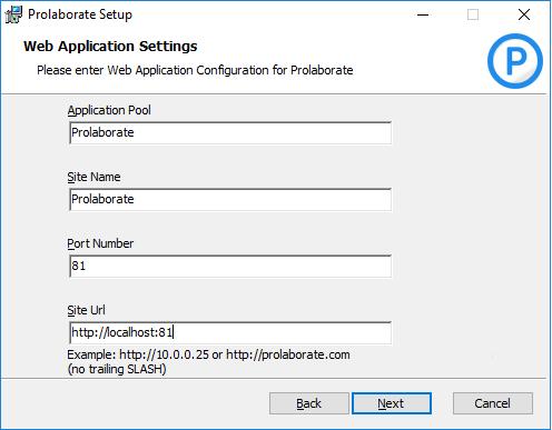 Configure Prolaborate Web App