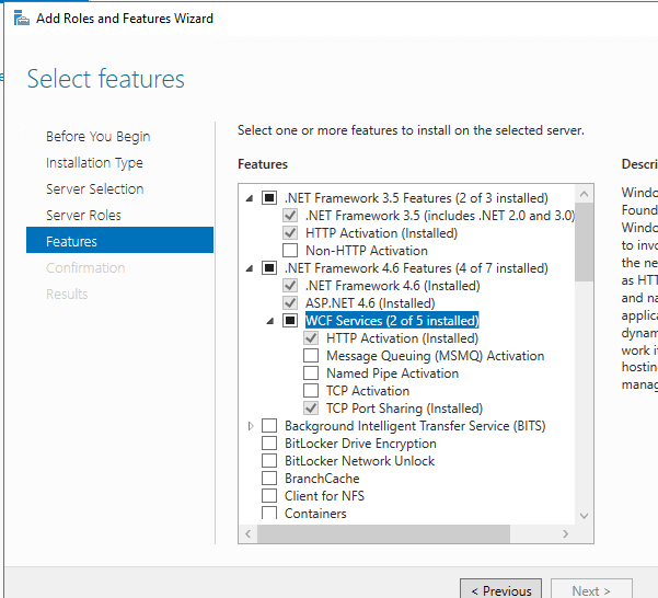 In Features step, select ASP.NET 4.5