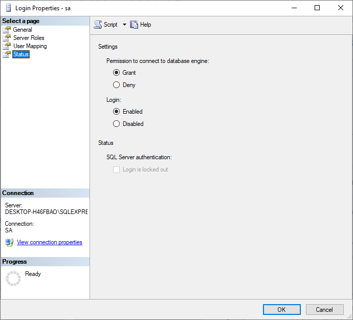 Sql Server User Mapping with Prolaborate database